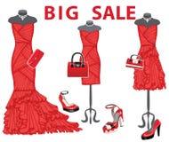 3 красных платья с аксессуарами развилки иллюстрация вектора