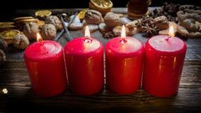 4 красных свечи рождества Стоковое Изображение RF