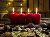 4 красных свечи рождества Стоковое фото RF