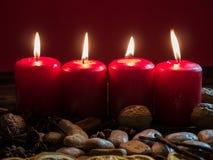 4 красных свечи рождества Стоковое Изображение