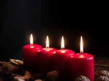 4 красных свечи рождества Стоковое Фото