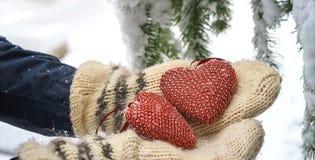 2 красных сердца и руки ткани на тяжелой снежной предпосылке ветви ели, около дома красного кирпича Веселое рождество, С Новым Го стоковые фото