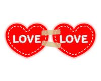 2 красных сердца на лентах бумажных слипчивых велкро Концепция влюбленности, день ` s валентинки Вектор изолированный на светлой  иллюстрация штока