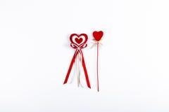 2 красных сердца валентинки Стоковые Изображения