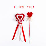 2 красных сердца валентинки Стоковые Изображения RF