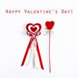 2 красных сердца валентинки Стоковые Фото