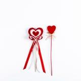 2 красных сердца валентинки Стоковое фото RF