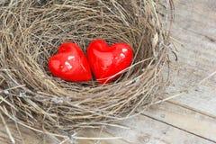 2 красных сердца в гнезде птицы Стоковые Фото