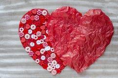 2 красных сердца на предпосылке Стоковые Фотографии RF