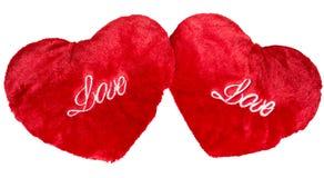 2 красных сердца плюша изолированного на белизне Стоковые Изображения RF