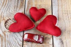 3 красных сердца сделанного вручную Стоковое Изображение