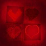 4 красных сердца Стоковое Изображение RF