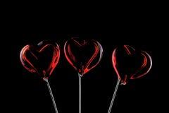 3 красных сердца Стоковые Фотографии RF