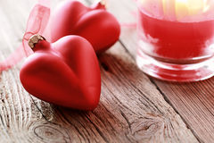 2 красных сердца Стоковое фото RF