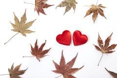 2 красных сердце и листь осени Стоковое Изображение