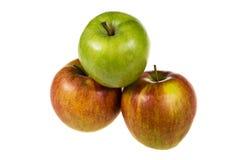2 красных яблока и зеленого яблоко Стоковое Изображение