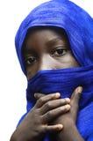Красота Африки завуалировала голубым типичным арабским Туареги одежды Стоковая Фотография RF