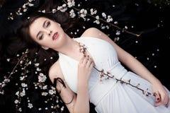 Красота весны или концепция косметик женщины Съемка портрета моды Стоковые Изображения RF