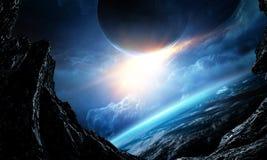 Красота глубокого космоса Орбита планеты стоковая фотография rf