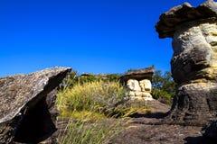 Красота гриба каменная с небом Стоковые Изображения