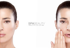 Красота и концепция skincare 2 половинных портрета стороны Стоковая Фотография RF