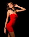 Красота моды в красном платье Стоковое Изображение RF