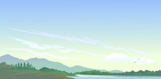 Красота озера, холмов и природ Стоковое Фото