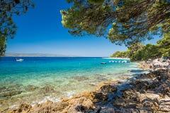 Красота природы моря Хорватии пляжа Стоковая Фотография RF
