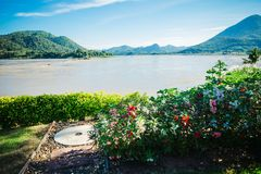 Красота рек, гор и цветков Стоковые Изображения RF