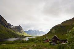 Красота северных гор и океана Норвегии Стоковое Фото