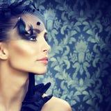 красотка делает ретро портрета введенное в моду вверх Стоковые Изображения RF