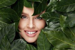 красотка естественная Красивая сторона женщины в зеленых листьях Стоковая Фотография RF