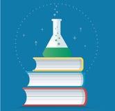Красочная лаборатория заполнила с ясной жидкостью и записывает иллюстрацию вектора, концепции образования иллюстрация штока