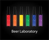 Красочная лаборатория силуэта пива изолированная на черноте Стоковая Фотография