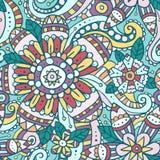 Красочная абстрактная безшовная картина с цветками Стоковые Изображения