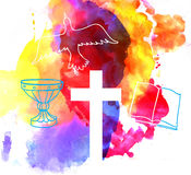 Красочная абстрактная предпосылка с крестом Стоковая Фотография