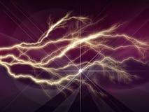 Красочная абстрактная психоделическая молния с глубоко - фиолетовым небом Стоковая Фотография RF