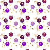 Красочная безшовная картина желтых звезд, ультрафиолетов кругов, оранжевых лент на прозрачной белой предпосылке Illustra вектора Стоковая Фотография RF