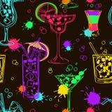 Красочная безшовная картина коктеилей Стоковые Изображения RF
