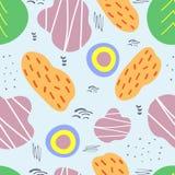 Красочная безшовная картина с абстрактными формами Нарисованный вручную, эскиз, doodle иллюстрация вектора