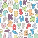 Красочная безшовная картина с беспорядочно распределенными английскими письмами Предпосылка вектора смешная Стоковые Изображения RF