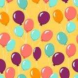 Красочная безшовная картина с воздушными шарами для обоев, ткани, ткани торжество дня рождения счастливое также вектор иллюстраци иллюстрация штока