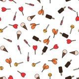Красочная безшовная картина с леденцами на палочке и мороженым в плоском стиле Стоковая Фотография