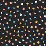 Красочная безшовная картина с звездами Белый, голубой, розовый, оранжевый, черный цвет Стоковые Фотографии RF