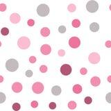 Красочная безшовная картина с кругами, confetti Розовая и серая девушка ягнится палитра Фасонируйте стиль для textil печатей, бат Стоковые Фото