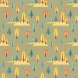 Красочная безшовная картина с лесом осени Стоковая Фотография RF