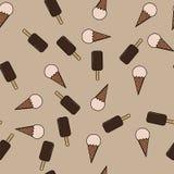 Красочная безшовная картина с мороженым в плоском стиле Стоковое Фото