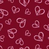 Красочная безшовная картина с символом сердца мира hippie в стиле zentangle Стоковое Изображение RF