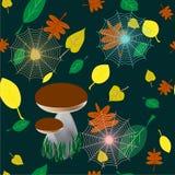Красочная безшовная предпосылка белых грибов в лесе, листьев, паутин, шаблона дизайна крышки для представления ткани, иллюстрация вектора