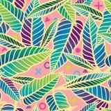 Красочная безшовная тропическая картина с листьями Стоковое Изображение RF